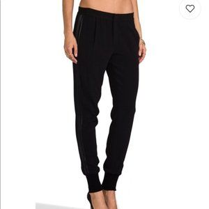 Vince Black Joggers With Satin Side Panel